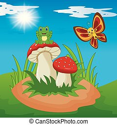 Cute frog and butterfly cartoon with mushroom
