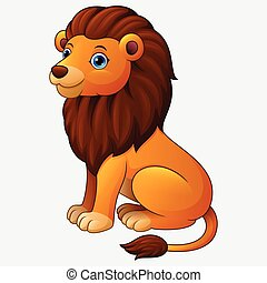 Cute lion sitting cartoon isolated on white background