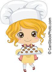 Illustration of Cute Little Girl Baking Cookies