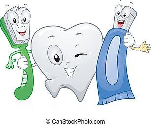 Illustration of Dental Products Hanging Together