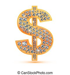 illustration of diamond dollar icon on white background