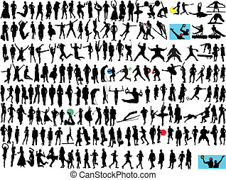 different people silhouette