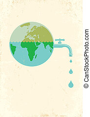 Illustration of Earth with water tap