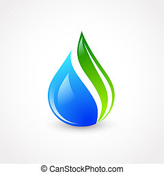 Illustration of Eco Water Drop With Green Leaf