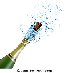 illustration of explosion of champagne bottle cork on isolated background