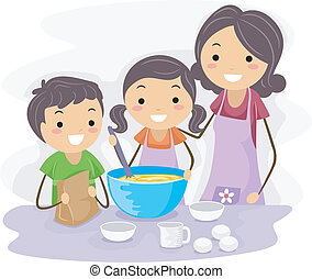 Illustration of Family Baking Pastries Together