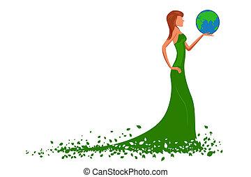 fashion lady with globe