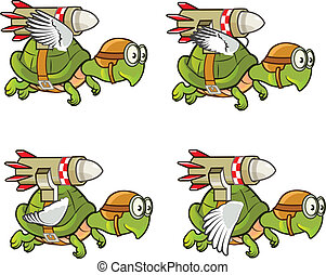 Flying Turtle with Rocket Sprite