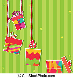 Illustration of gift bosex. Greeting card