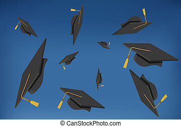 illustration of Graduation Caps Thrown in the Air
