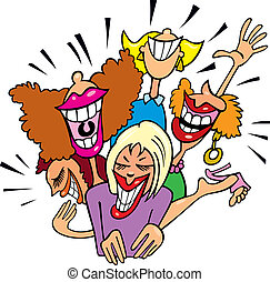 Illustration of group of Women having fun and laughing