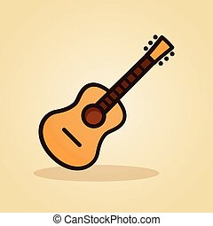 guitar icon on brown background