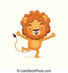 Illustration of happy smiling kid lion cartoon character running with paws up. Wild animal with lush mane. Flat vector isolated on white.
