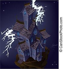 Illustration of haunted house
