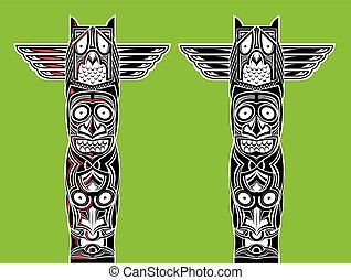 illustration of indian totem carved owl and scary faces