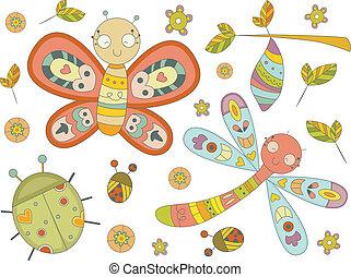 Illustration of Insect Doodles Design Elements