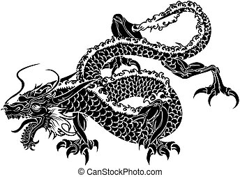 Illustration of black Japanese dragon on white background