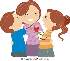Illustration of Kids Greeting their Mom on Mother's Day