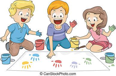 Illustration of Kids Leaving Hand Prints on a Board