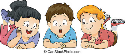 Illustration of Kids Looking Down
