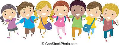 Illustration of Kids Walking Together