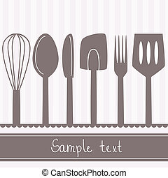 Illustration of kitchen utensils and cutlery with space for text