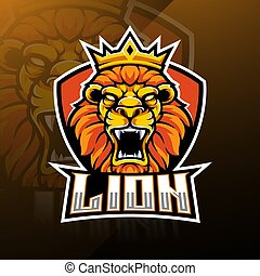 Lion head esport mascot logo design