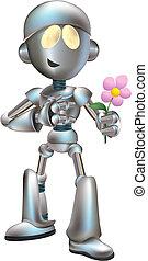 Illustration of love struck robot with flower
