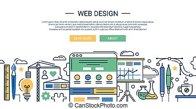 Illustration of vector modern web design line flat design composition and infographics elements with website development tools. Header, banner for your site.