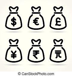 money bag icons on white background