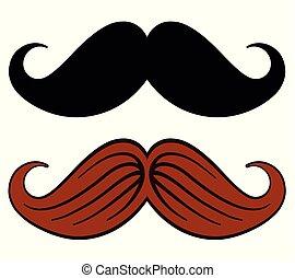 mustache design on white background