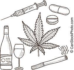 Illustration of narcotics - marijuana, alcohol, nicotine and other