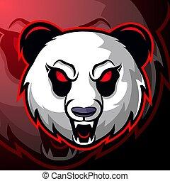 Panda head esport mascot logo design