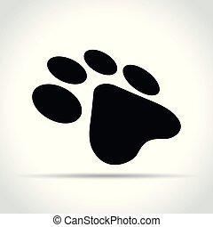 paw print on white background
