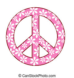 illustration of peace symbol with floral texture