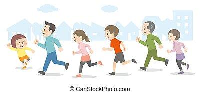 Illustration of people running outdoors