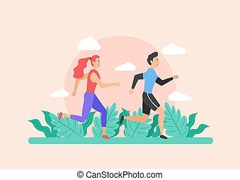 Illustration of people running vector