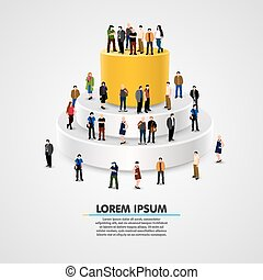 illustration of people standing on growing graph.