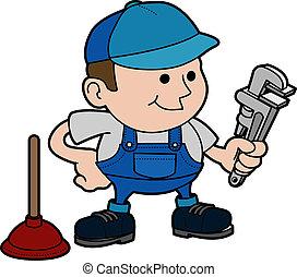 Illustration of plumber