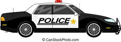 illustration of police car side view isolated on white background