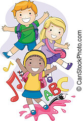 Illustration of Preschool Kids Playing