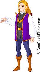 Illustration of Prince charming presenting