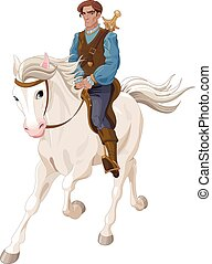 Illustration of Prince Charming riding a horse