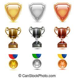 illustration of prizes icons on white background