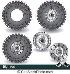 Illustration of realistic big tires with rims, vector images