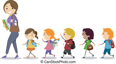 Illustration of School Kids Following Their Teacher