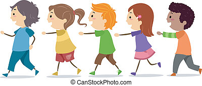Illustration of School Kids Walking in One Line