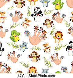 Seamless pattern with Hand wearing cute 5 finger puppets