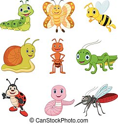Set of cartoon insects