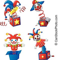 Set of toy circus clown out of a box